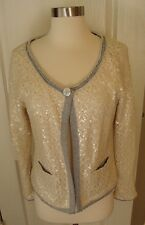 Soft Surroundings M Medium Ivory Gray Knit One Button Brocante Sequin Jacket