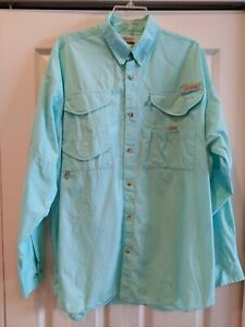 Columbia PFG Light Green Teal LS Vented Fishing Shirt Men's Sz L