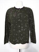 Christopher & Banks Cardigan Sweater Green/Purple Wool Blend Women's Size Large