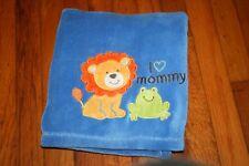 HTF/RARE BABY STARTERS Blue Soft LION & FROG Baby BLANKET I LOVE MOMMY