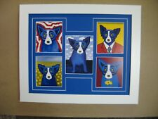 "GEORGE RODRIGUE BLUE DOG NOTE CARD COLLAGE - WHITE FRAME / BLUE MAT - 16"" x13"""