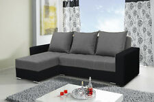 corner sofa bed storage grey fabric black faux leather left right, new design!