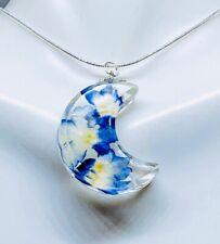 Cresent Moon Necklace,Real Blue Verbena Necklace,Real Flower Necklace,Flower Gif