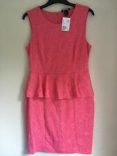 Ladies Sleeveless Peplum Pink Dress Size M by H&m