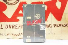 FULL BOX 24 PACKS OF AUTHENTIC RAW BLACK DOUBLE PRESSED ROLLING PAPER 1 1/4