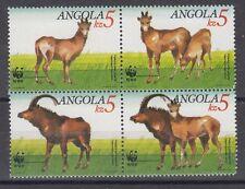 angola ca 1990 animaux animals wwf bubale hippotragus bloc 4v mnh **