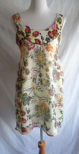 Adorable American Rag Cie Sheer Crinkle Floral Mini Dress Smocked Tunic Size 4