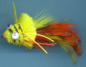 Deer Hair Diver Frog Chart/Orange/Yellow Fly Fishing Flies Hand Tied Fly