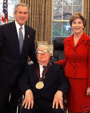 GEORGE W. AND LAURA BUSH WITH RAY BRADBURY 8X10 PHOTO
