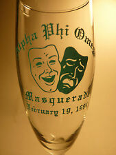 ALPHA PHI OMEGA FRATERNITY 20 Yrs Old CHAMPAGNE GLASS Masquerade Feb 19 1994 APO