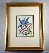More details for vintage kensitas flower silk campanula and sweet william framed and glazed c1935
