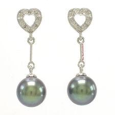 AAA Black Pearls; 16 Sparkling Diamonds; 14k White Gold Dangle Stud Earrings TPJ