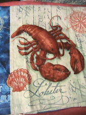 1 whole RED LOBSTER~seahorse~shell KITCHEN~BATH~SHOP~COTTAGE quality HAND TOWEL