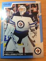 O-Pee-Chee 2020-2021 CONNOR HELLEBUYCK BLUE BORDER CARD #186 WINNIPEG JETS