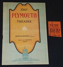 1919 - THE PLYMOUTH - THEATRE - NY, USA - PROGRAM + TICKET STUB - ORIGINAL