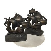 Vintage Pair Of  Brass Bronze Tone Nautical Sailing Ships Book Ends /door Stops