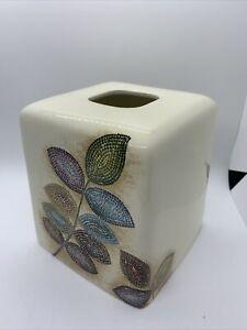 Croscill Mosaic Leaves Ceramic Pottery Tissue Box Cover Holder for Bathroom Set