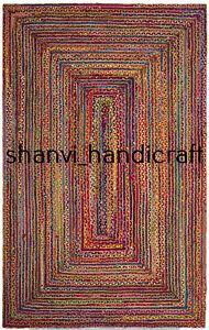 Rectangle Jute & Cotton Braided Rug 2x3 Feet Rug Home Decor Carpet Area Rugs Mat