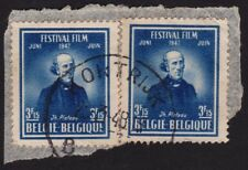 BELGIUM 1947 stamp 2pc USED on Paper @E3182