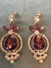 Purple Diamanté Dangly Gold Indian Jewellery Earrings Accessories