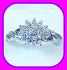 SOLID 9CT WHITE GOLD 0.25CT GENUINE DIAMOND ENGLISH ENGAGEMENT/CLUSTER RING HM~N