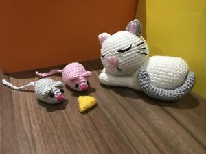 Handmade Crochet Cat Mouses Cheese Stuffed  Toys Animal Gift For Kids Amigurumi