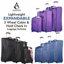 Aerolite Lightweight 2 Wheel Cabin & Expandable Hold Check In Luggage Suitcase
