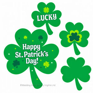 30 Irish Happy St Patricks Day Shamrock Cut-outs Birthday Party Wall Decorations