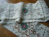 Old Vtg Alencon lace trim &petit Point Style Emb/ry on midlle of each section