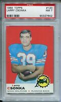 1969 Topps Football #120 Larry Csonka Rookie Card Graded PSA Nr Mint 7 Dolphins