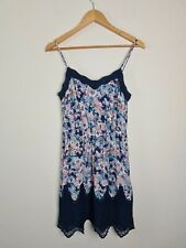 Forever New Blue Floral Sun A-Line Lace Dress Women's Size 8 Spaghetti Strap