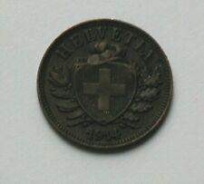 1914 B SWITZERLAND Swiss Coin - 2 Rappen - brown