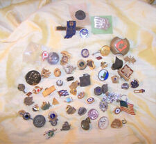 VINTAGE huge lot of 60 fraternal / company / school / military pins & jewelry