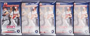 2021 Bowman Baseball Lot (5) RETAIL PACKS SEALED FROM BLASTER BOX CASE 60 CARDS