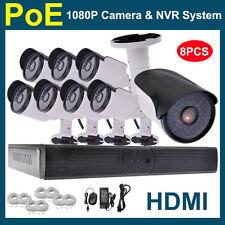 NEW 8PCS CCTV 1080P 2.0MP CCTV PoE IP Network Outdoor Camera 8CH HDMI NVR SYSTEM