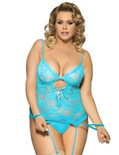 Plus Size Lingerie 6X Sheer Lace Cami Teddy & Handcuffs Set SEXY Fetish Bustier