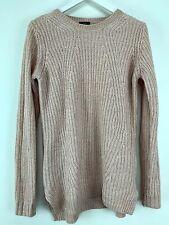 Womens Knit Long Length Light Pink Sweater Crew Neck F&F Size 12 Uk *16