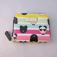 New Betsey Johnson Panda Wallet Multi Color Rainbow Stripes Small Card Zip Up