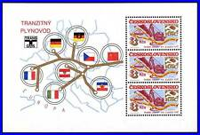 CZECHOSLOVAKIA 1984 GAS PIPE fr.RUSSIA S/S MNH MAPS, FLAGS, CHEMISTRY cz-al