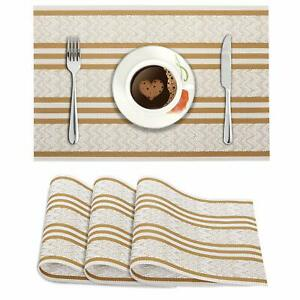 45 x 30 Cm, Cream PVC Reversible Vinyl Table Mats/ Placemats, 4Pc,Color May Vary