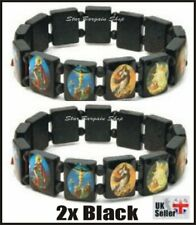 2X BLACK Wooden Elasticated Saints Bracelet Jesus Wristband Religious Saints NEW