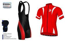 Set maglia e pantalone da ciclismo in maglia rossa