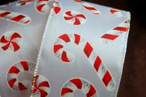 """Wire Edged Candy Cane Glitter Wired Ribbon 2.5"""" Christmas Wedding Bow  Wreath"""