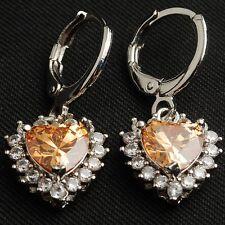 Elegant Champagne Heart Cubic Zircon White Gold Plated Lady Drop/Dangle Earrings