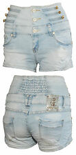 High Waist Jeansshorts Hot Pants Damen Corsagen Simply Chic Shorts 36 38 40