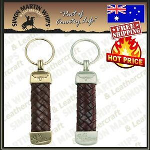 RM Wiliams Keychain Leather Rope Strap Weave Keyring Key Chain Ring Key Fob Gift