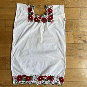 Vintage 1970s Handmade Boho Floral Embroidered White Prairie Boxy Mini Dress XS