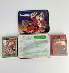 Coca Cola CHRISTMAS PLAYING CARDS 2 SEALED DECKS WITH TIN BOX