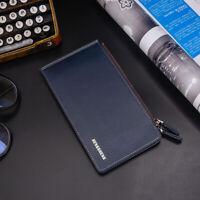 Black Id Card Holder Wallet Fashion Long Pu Luxury Men Leather Wallet Business