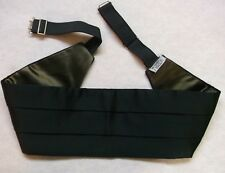 "Cummerbund Mens Pleated Vintage Sash BLACK ADJUSTABLE TO 42"" 1980s 1990s"